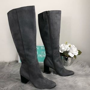 14th & Union Helenah Gray Heeled Vegan Suede Boot